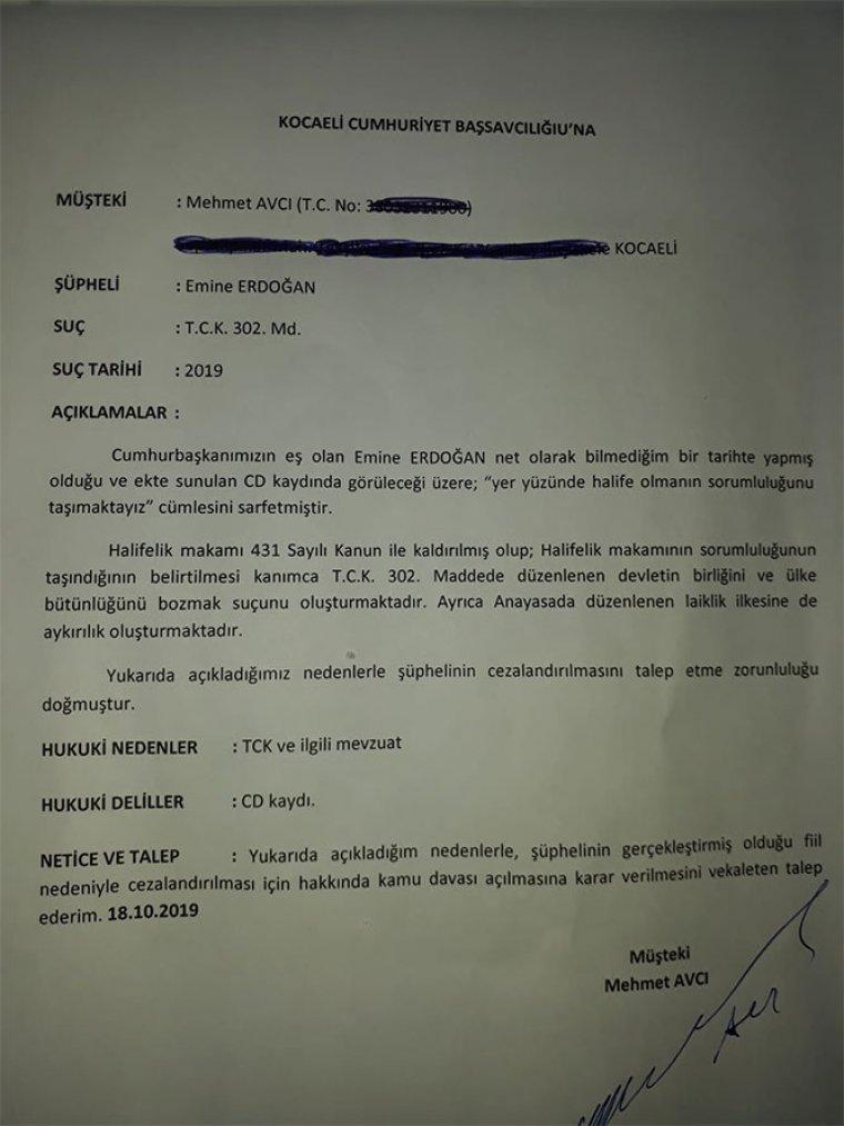 Emine Erdoğan hakkında suç duyurusu