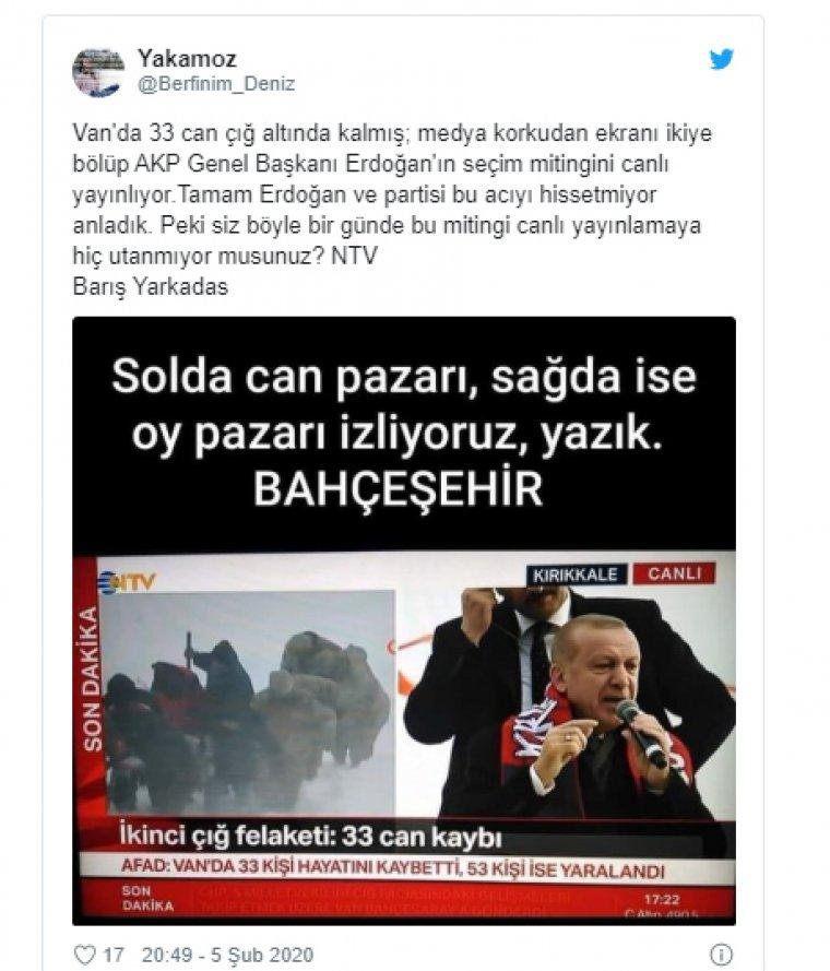 NTV'ye Erdoğan ve çığ tepkisi: Solda can, sağda oy pazarı