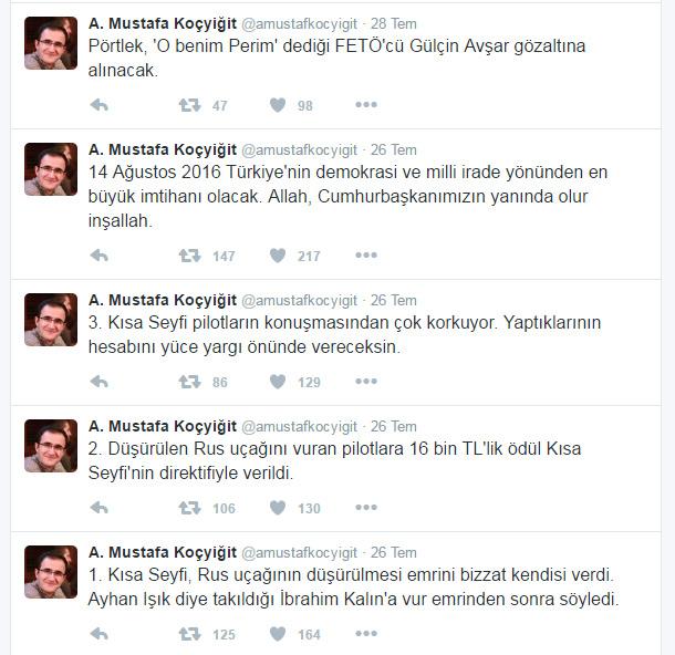 A Mustafa Koçyiğit atılan twitler