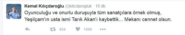 Tarık Akan Hayatını Kaybetti, Kemal Kılıçdaroğlu Mesaj