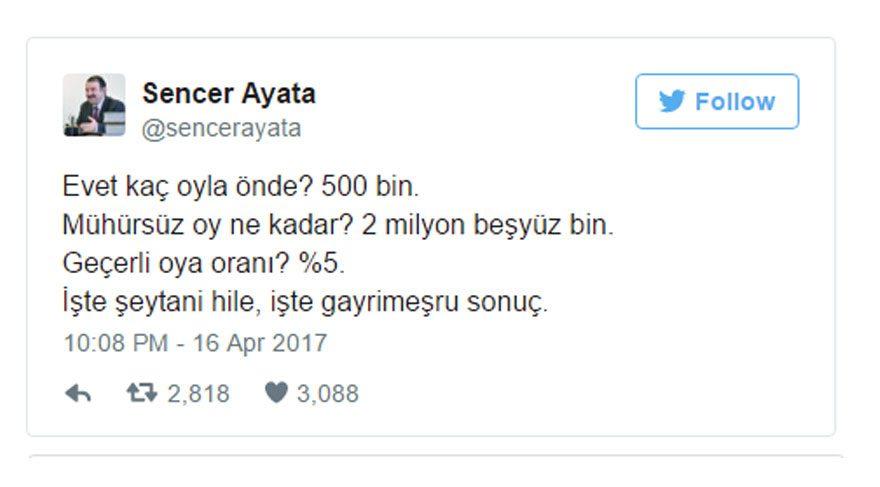 Sencer Ayata CHP,Seçim İptal Edilir mi